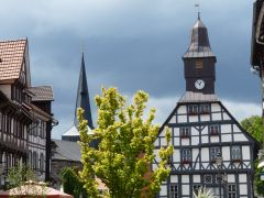 Weserbergland: Vakwerk in het centrum van Uslar